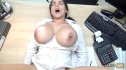 loan4k hot mischel lee has to pay for her boobs so she uses them